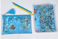 Clear Sewing PVC Cosmetic Bag Blue Star Glitter Plastic Makeup Pouch With Confetti