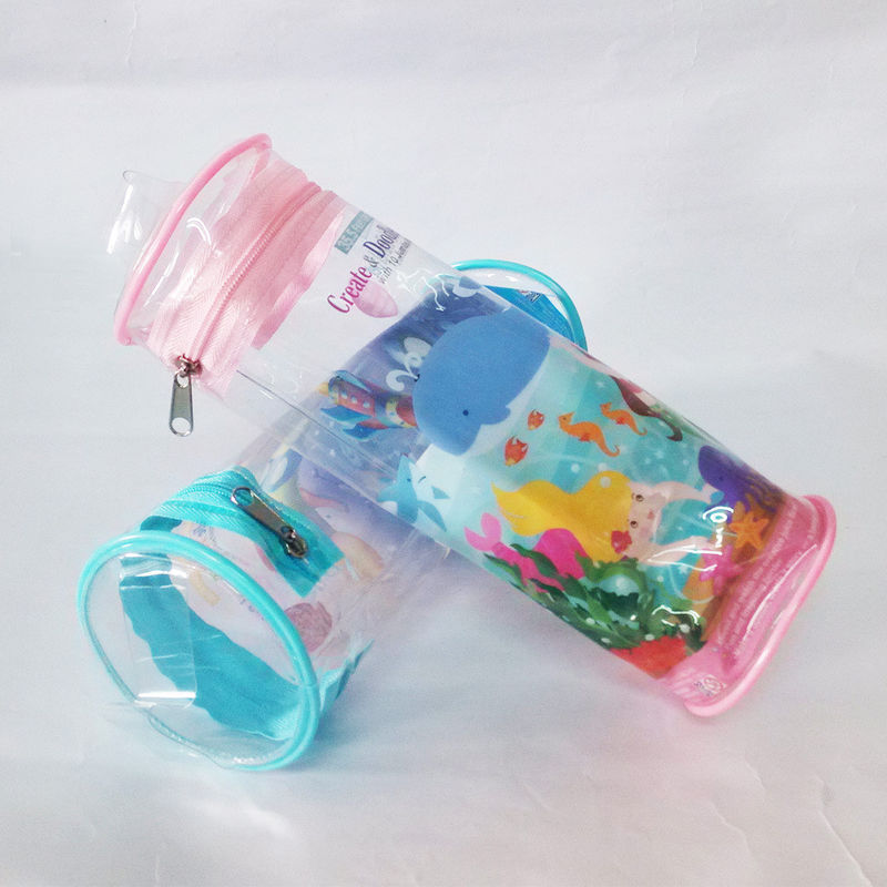 OEM Round PVC Pencil Bag / PVC Stationery Bag Cute Printing With Zipper